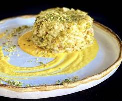 Minitimballi di riso ai pistacchi e speck su crema di porri e zafferano - CONTEST TIMBALLI DI RISO
