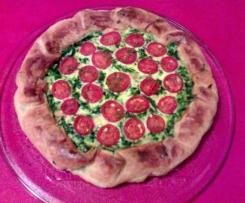 Quiche con verdure, pomodorini e menta piperita