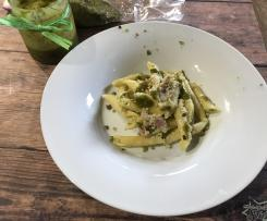 Pennette pistacchio ricotta e pancetta