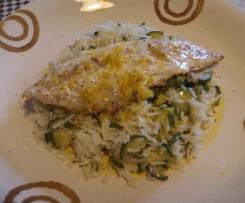 Filetto di sgombro con riso basmati e zucchine al profumo di limone e zenzero