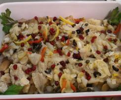 Filetti di merluzzo alla mediterranea con fagioli bianchi