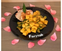 Gnocchi al mandarino con capesante e zucchine (senza glutine)