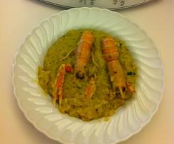 Risotto zucchine e scampi con zafferano