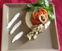 Gelatina di Gazpacho con salsa di burrata e calamari al limone. Team Mezzalira Div.Adda