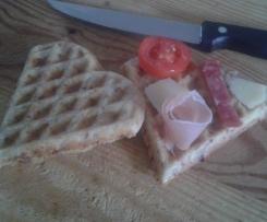 Waffle salati con speck
