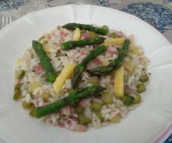 Risotto con asparagi, pancetta e ananas