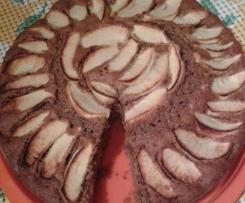 Torta al cioccolato fondente e mele