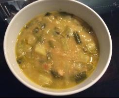 Zuppa orientale ai gambi di cipollotto e ceci