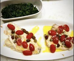 Pesce Spada e/o Spigola sottovuoto con pomodorini e aromi