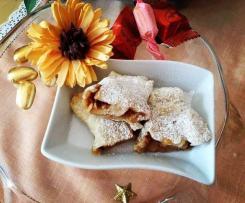 Mini Strudel fritti con fiocchi di avena pralinati e noci, scaglie di cocco e crema al pistacchio - contest strudel