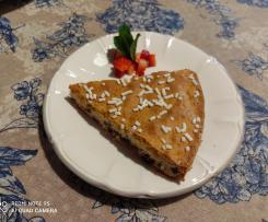 Torta senza glutine con con gocce di cioccolato e mirtilli