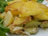 Terrina di patate, zucchine e salmone con contorno di riso basmati