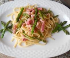 Linguine con Asparagi e Pancetta Affumicata