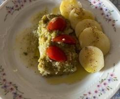 Filetti di merluzzo (surgelati) al vapore con contorno di patate semplici
