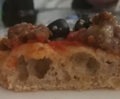 Variante di PIZZA A LUNGA LIEVITAZIONE E ALTA IDRATAZIONE con farina integrale