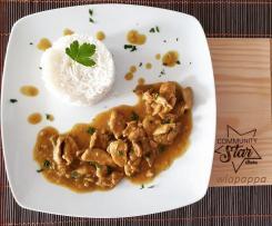 Straccetti di pollo in agrodolce con curry e zenzero