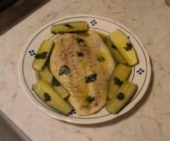 Filetto di persico al limone e zenzero con zucchine