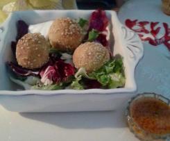 Polpette di salmone al profumo di lime con crema di ceci e pomodorini - contest polpette non fritte