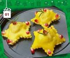 Ravioli con Farina di Farro ripieni di Luganega e castagne - Natale