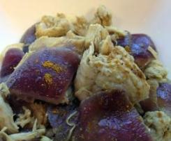 Pollo al curry e cipolle rosse