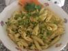 Pennette salmone, zucchine e piselli