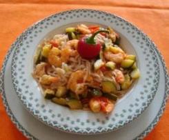 tagliolini al farro con gamberi e zucchine