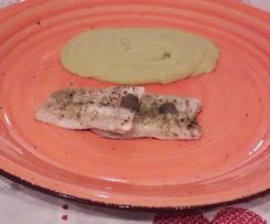 Filetto di pesce spatola alla mediterranea con puré  di piselli secchi -contest ricette leggere
