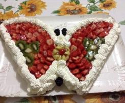 Torta fragolosa a forma di farfalla (Dedicata a mia figlia per i suoi 25 anni)