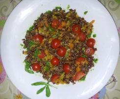 riso rosso verdurine al varoma e pesto di ruccola