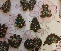 Biscotti di pasta frolla con glassa al cioccolato