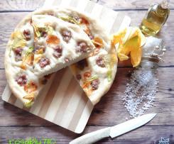 Focaccia con luganega formaggio e fiori di zucchine a modo mio