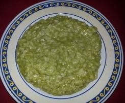 risotto con crema di piselli e gorgonzola