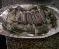 Tacchino porchettato con patate e fagiolini