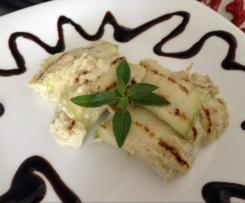 Involtini di zucchine al formaggio spalmabile e pistacchi