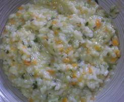 risotto con zucchine e carote e speck
