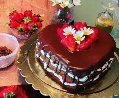 Torta cuore al cioccolato senza glutine per la festa della mamma