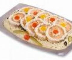 Salmone al vapore con insalata russa