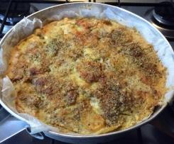 Torta di farina di ceci con sogliola e patate