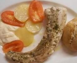 Palombo a vapore con patate, maionese e Pane Semi Integrale