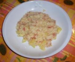 Risotto con porro, speck e patate