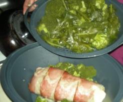 polpettone con filato affumicato e avvolto con speck e contorno di broccoli baresi
