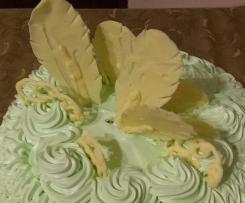torta alle pere con piume di cioccolato bianco