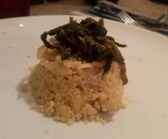 Sformatini di cous cous al curry con cime di rapa