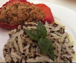 La magia del vapore - piatto unico più dolce: tortino di quinoa al parmigiano, peperoni ripieni e flan di uova
