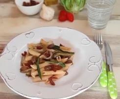 Penne con Catalogna cimata acciughe olive taggiasche a modo mio (Contest pasta Risottata)