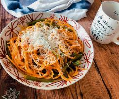 Spaghetti e fagiolini con ricotta marzotica