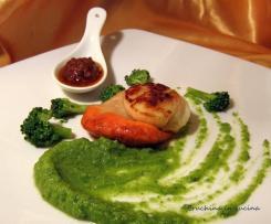 Capesante con crema di broccoli