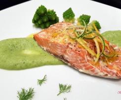 Salmone marinato agli agrumi con crema di broccolo romanesco