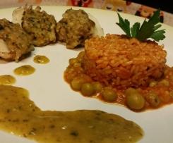"""pasto completo """"dieta con gusto"""": riso integrale al sugo di piselli, seppie ripiene con ristretto di cipollotti e zucchine al balsamico, tortino al cioccocaffè (contest Multilivello)"""