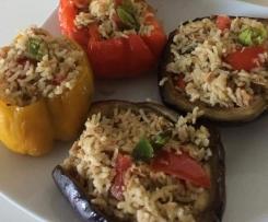 Verdure ripiene di riso basmati pomodori e tonno (leggerissimi)